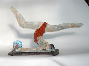 gymnast-with-ball-painted-bronze